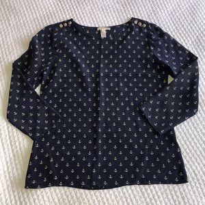 J. Crew Anchor Print Silk Shirt - Size 2